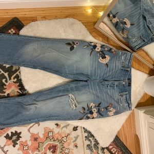 Embroidered A&F high rise jeans